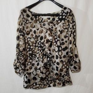Zara polka dot black & brown with frills blouse